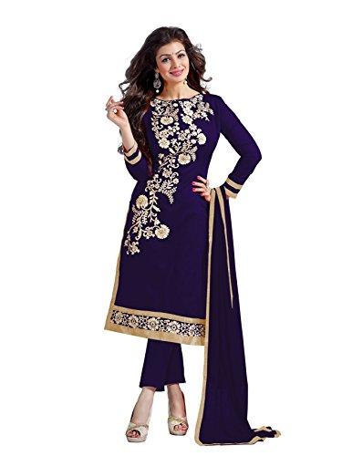 Blissta Navy Blue Embroidered Chanderi Dress Material