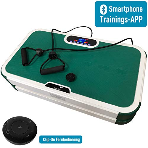 skandika Vibration Plate 900 Smart Vibrationsplatte, 2 kraftvolle Motoren mit 3D Wipp Vibration, Bluetooth Smartphone Trainings-App, Trainingsbänder + Fernbedienung, Vergleichssieger (grün)
