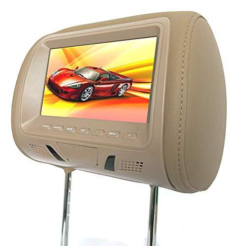 oll-Kopfstütze-Auto-DVD-AV-Player überwacht FM-Transmitter HD-Autoanzeige,Beige ()