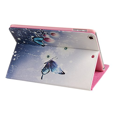 Ipad 2 3 4 Wallet Cover, Ipad 2 3 4 Flip Leather Case Back Cover, Ukayfe Stand Function PU Leather Case Premium Soft Slim Cover Bookstyle with Magnet Closure Credit Card Holder Slots for Apple iPad 2  Fiori Farfalla viola