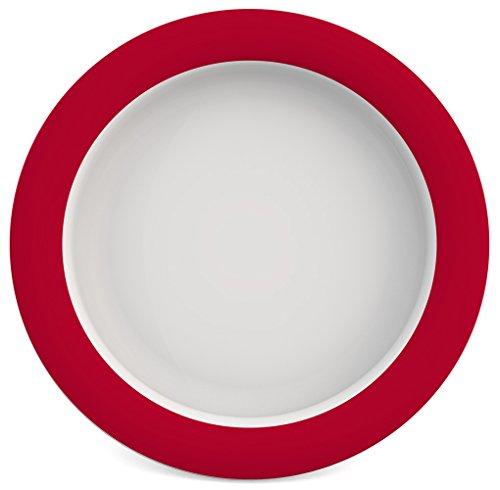 Ornamin Teller mit Kipp-Trick Ø 26 cm rot | Spezialteller mit Randerhöhung für selbstständiges Essen | Esshilfe, Melamin, Anti-Rutsch Teller, Tellerranderhöhung