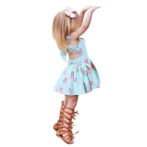 Malloom® Infant Kleinkind Kind Mädchen Floral ärmellose Prinzessin Kleid Backless Kleid Kleidung für Hochzeit Party Show Ärmelloses Blumenkleid hinten (90, blau) (Aurora Blau Kleid Kostüm)