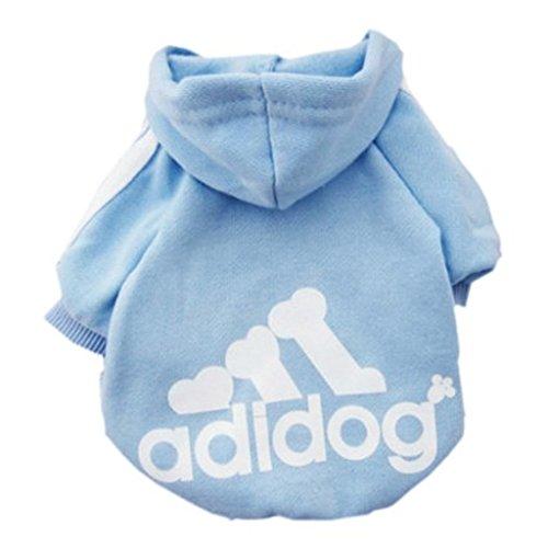 Rdc Pet Adidog Dog Hoodies, Apparel, Fleece Basic Hoodie Sweater, Cotton Jacket Sweat Shirt Coat for Small Dog & Medium Dog & Cat (Light Blue,L) -