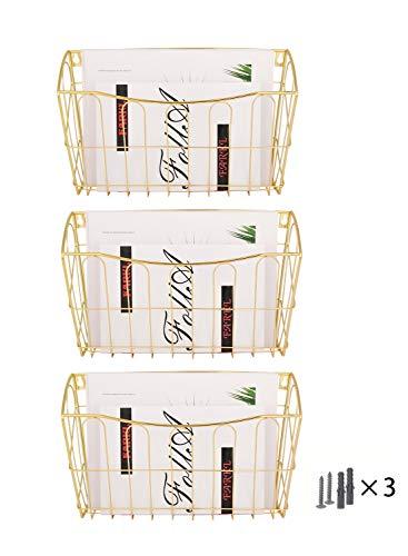 Generic Support mural 3 poches A4 à suspendre pour documents de bureau, courrier, lettres et documents doré