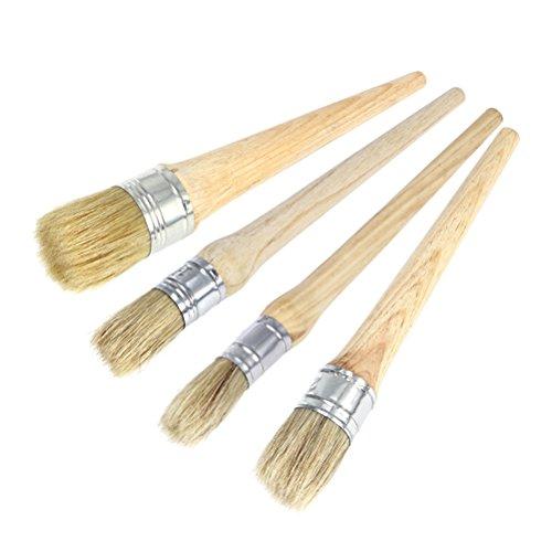 ULTNICE 4 Stücke Kreide Farbe Wachs Pinsel Professionelle Malerei Wachsen Pinsel mit Naturborsten für Möbel Schablonen Folkart Wohnkultur (20 CM 25 CM 30 CM 40 CM) -