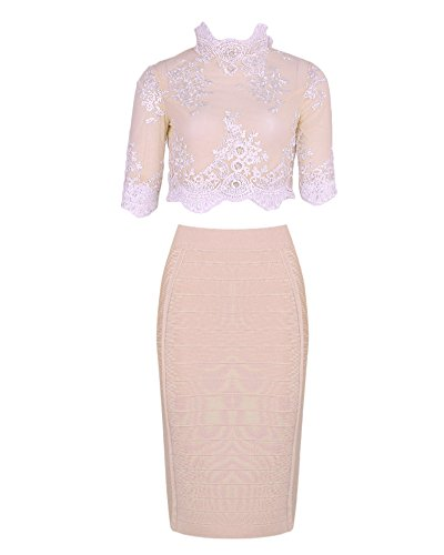 Whoinshop Damen Casualkleider zweiteiliges Bandage Cocktailkleid 3/4 Arm mit Spitzen Knielang Party...