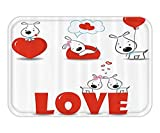 VICKKY Doormat ValentineDay Set Puppy Love with Heartand DogHiand HerHeart Balloon RomanticPrint Fabric Bathroom Decor with Hook Long Red White 23.6 W X 15.7 W Inches