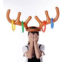 Christmas Party Toss Inflatable Reindeer Elk Antler Hat with Rings Family Kids Office Xmas Fun Games