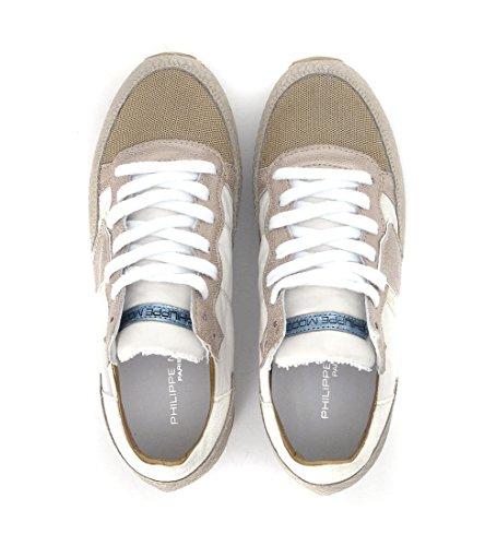 Sneaker Philippe Model Tropez Higher in pelle oro chiaro e tessuto beige Beige