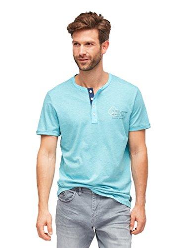 TOM TAILOR für Männer T-Shirts/Tops T-Shirt in Melange-Optik mit Schrift-Print Bachelor Button Blue, M
