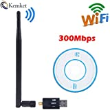 Kemket WiFi USB Adapter- 300 mbps, 150mbps with antenna / Wireless LAN / USB 2.0 Adaptor / Mini Dongle 802.IIN / SMA connection / works with PC + MAC   for Win 10 / Win 8 / Win 7 / OSx (300 Mbps)