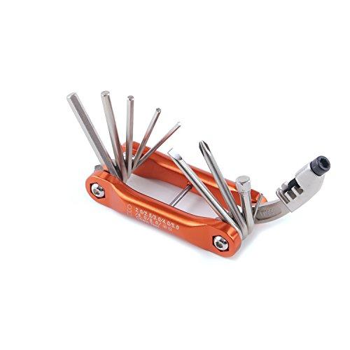 suyizn 10in 1Multitool Mini Bike Fahrrad Reparatur-Werkzeug-Set mit-Inbusschlüssel Schlitz & Phillips Schraubendreher Werkzeug-bs-10, Orange (Phillips Typ 0)