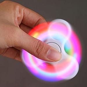 Bescita LED Licht Fidget Hand Spinner Torqbar High Speed Finger Spielzeug EDC Focus Gyro (weiß)