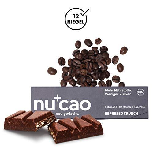 nucao Dunkle Zartbitter-Schokolade mit Bio Nährstoffkick - Espresso Crunch - Veganer Superfood Riegel aus Hanfsamen & Roh-Kakao ohne raff. Zucker-Zusatz, 480 g -