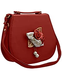 TAP FASHION Fancy Stylish Party Wear Women's Sling Bag With Handle And 3d Rose Flower