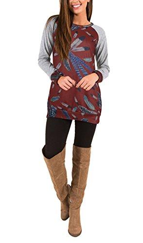 BIRAN T Shirt Donna Manica Lunga Rotondo Collo Slim Fit Vintage Con Stampa Etnica Pattern Eleganti Moda Giovane Hippie Casual Autunno Inverno Sports Maglietta Tshirt T-Shirt Tops Bordeaux