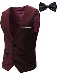 YaoDgFa Herren Weste Anzug + Fliege Smoking Sakko Anzugweste Herrenweste Herrenanzug slim fit Hochzeit feierlich Elegant