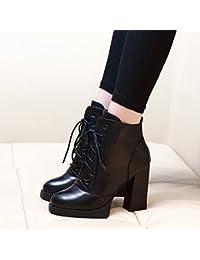 HBDLH Scarpe da donna/Comfort/Gli Stivali In Autunno Inverno Bene Impermeabile Ginocchia Sottile Stivali Alti Margini 11Cm Tacchi Alti.36 Black