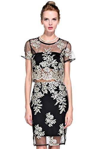 JeVenis Frauen bestickte Kleid Spitze Cocktailkleid Kristall Pailletten Abendkleid (US L (EUR 42), Schwarz) (Besticktes Mesh-kleid)
