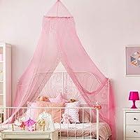 BALDAQUINO PARA PRINCESAS – Hermoso baldaquino rosa con lentejuelas plateadas para niñas – Accesorios para dormitorio de niñas de instalación rápida y fácil - El perfecto regalo para niñas