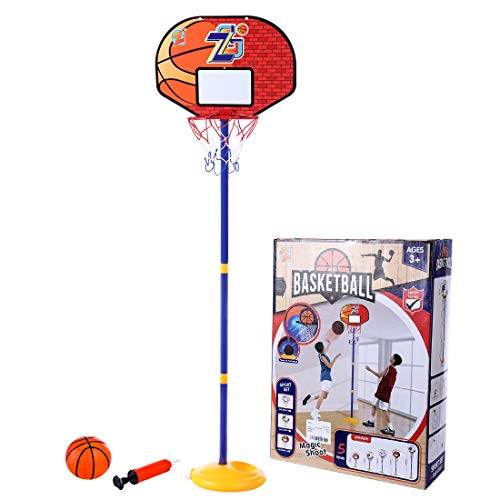 iVansa Basketballkorb für Kinder, Höhenverstellbare Basketballkorb 144cm, Basketball Ständer Spiel Set für Kinder ab 6 7 8 Jahre - ZG270-10