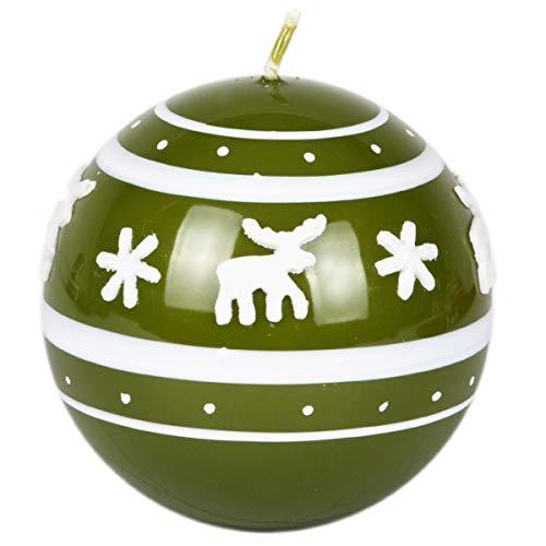 Bola Verde Vela Vela de Navidad 80mm de diámetro Navidad Reno lacado color verde oliva