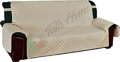 Tata Home Copridivano Trapuntato con Elastici Antiscivolo in Microfibra Resistente 4 Posti Beige