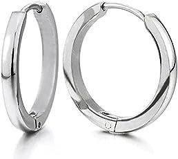 Gadgetsden Stainless Steel Cambered Huggie Hoop Ear Lobe Earrings for Men and Women, 20mm(Silver)
