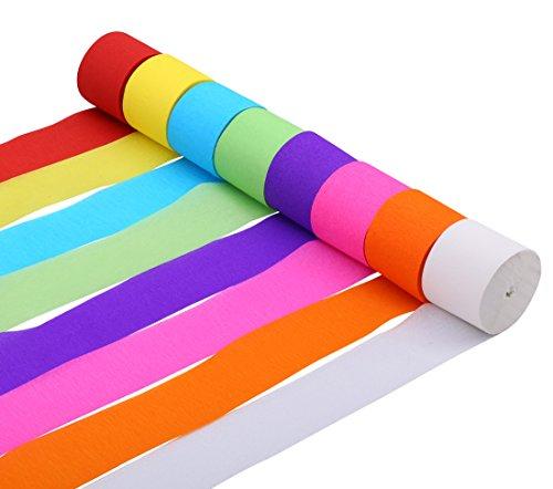 Krepp Papier Streamer für Hochzeit Geburtstagsparty, verschiedene Farben, 4.5cm x 25m (Packung mit 8)