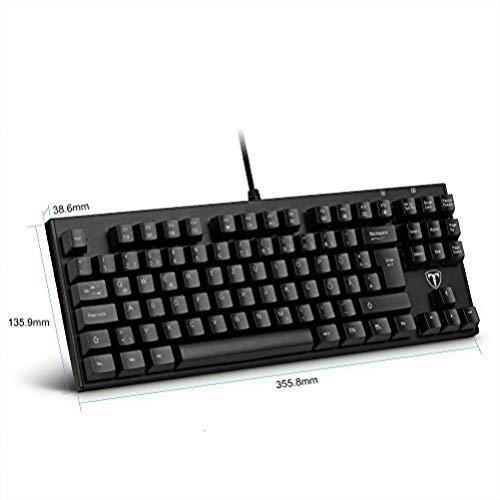 Topop mechanische 87-Tasten Gaming-Tastatur mit USB-Kabel angeschlossen mit key Cap Puller(QWERTZ, deutsches layout)