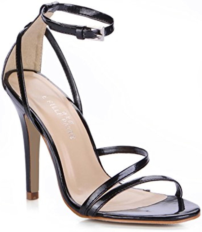Nueva Mujer sandalias de cuero pintura negra minimalista silvestres en oficina trabajando fine de alto talón zapatos,41 -
