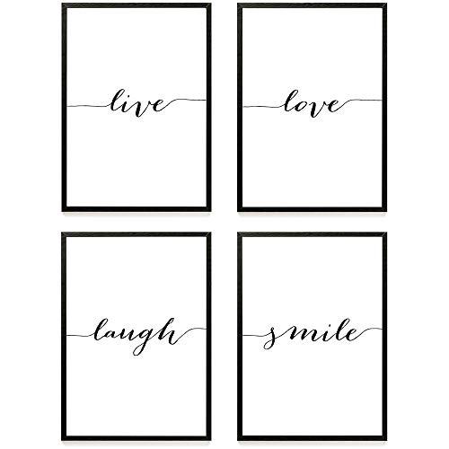 Heimlich® Premium Poster (4 Stück in DIN A4)   Große Auswahl an Motiven im Shop   auch mit Rahmen » LIVE Love Laugh Smile «
