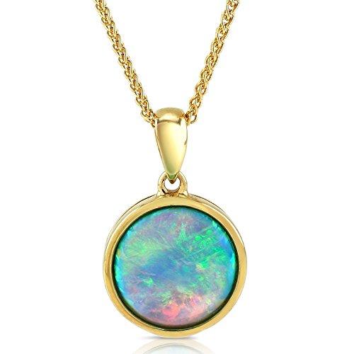 Anhänger mit Opal, 10 mm rund, 9 ct Gold, Halskette