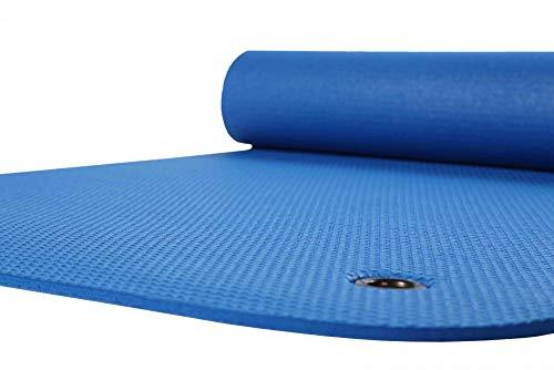 Vida GmbH Gymnastikmatte Yogamatte Pilates Fitnessmatte mit Ösen zum Aufhängen extra dick blau 65 x 180 cm