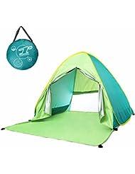Fresh verde Pop Up tienda de campaña Sun refugio UV 50+ sol Protección tienda de campaña ligera para al aire libre pesca mar playa jardín para niños bebés solo 1persona (verde)...