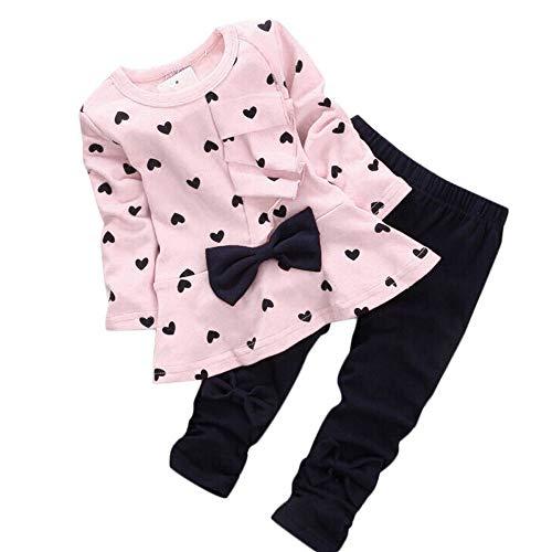 LEXUPE Baby Mädchen Kleidung Set Top Langarm Shirt + Pants Bekleidungsset Outfits(Rosa,80)