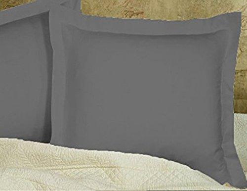 whitecottonworld Luxuriös, Weich und Hypoallergen Fadenzahl 4002kissenrollen RV einlagigen Ägyptische Baumwolle, Langlebig (Set von 2) Massiv Euro/Square (24'' x 24'') Dark Grey Solid - Euro-square-kissen-set