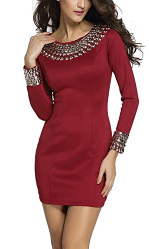 sunifsnow-women-sexy-rivet-studded-bodycon-stretch-office-dress-redm