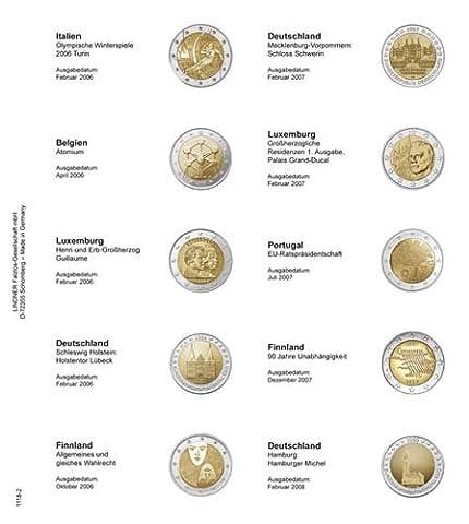 Lindner 1118-2 Feuille numismatique pré-imprimée 2-Euro commémoratives chronologique: Italie 2006