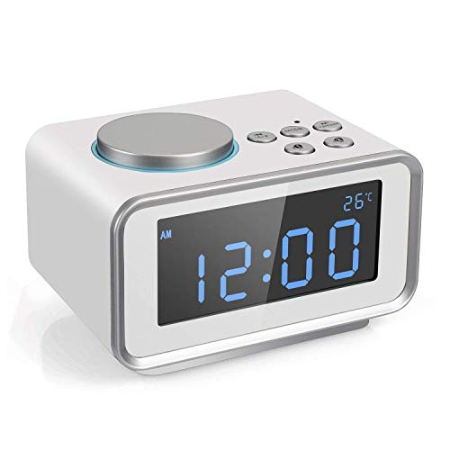 FM Radiowecker Digitaler Wecker, Dual USB-Ladeanschluss Alarm mit Snooze-Funktion, Innenthermometer, 6-stufige Helligkeit-Weiß (Color : Wei, Size : -) (Am Fm-radio, Ac-dc)