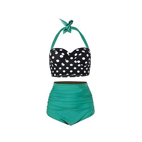 YZY Damen Bademode, Vintage Polka Dot hoch taillierte Push Up Badeanzüge Bikini Set (Farbe : 4, größe : XXXL) Vintage Spandex