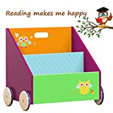 Labebe Kinder Bücherregal, Holz Standregal with Räder, Grüne Eule 2-in-1 Bücherregal Für Kinder 1-5 Jahre Alt, Kleiner Standregal/Bücherregal Regal/Bücher Regal/Modern Standregal/Bücherregal Tier/
