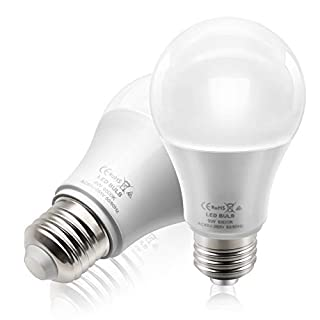 BeiLan 2X LED E27 Screw Light Bulb 9W 850LM 6500K Daylight White Non-Dimmable Equivalent 60W Incandescent Lamp Bulbs AC85-265V 50/60Hz for Home Office Indoor Lighting