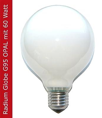 1 x Radium Globe Glühbirne Glühlampe 60W 60 Watt E27 OPAL G95 95mm Globelampe