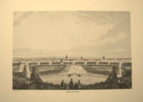 KARLSRUHE, Blick vom Schlossturm - Reproduktion eines Stahlstichs vom Beginn des 19. Jahrhunderts