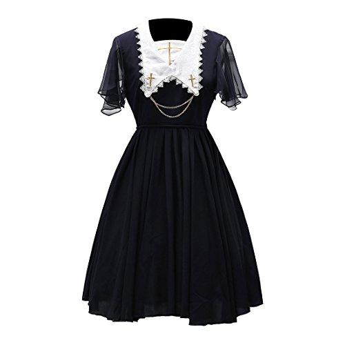 Partiss Womens suesse elegante Chiffon Lolita Kleid Cosplay Kostueme,XL,Navy (Kostüm Wonder Woman Xl)
