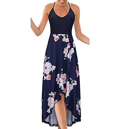 LILICAT_Kleid Frauen Sommer ärmellose Kleid Blume Gedruckt Tank Top Casual Schulter Strandkleid Mode Freizeit V-Ausschnitt Kleider Unregelmäßig Maxikleider Partykleid Sommerkleid