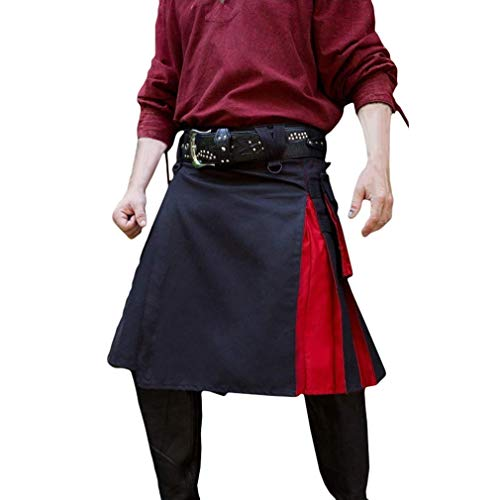 Wind Kostüm Mann Im - Dcola Herren Mittelalterliche Hohe Taille Faltenrock Knielangen Freizeitrock Halloween Karneval Party Kostüm Retro Wind Kostüm Nähen Faltenrock(XL,Red)