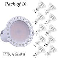 Lampaous® lampadine LED GU10, 60Watt equivalente a una lampadina alogena GU10, 6Watt, 550lumen, giorno, 4000K, angolo di diffusione: 120°, bianca, corrente costante driver Lens, lampadine super luminose luci a LED, alloggiamento in ceramica, confezione da 10