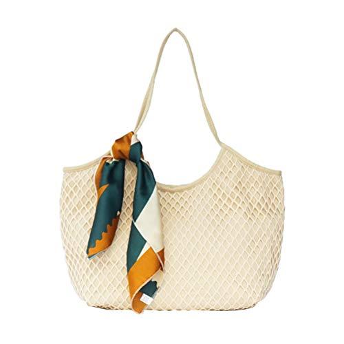 Fenical Tote Canvas Mesh Strandtasche Woven Totes Leichte Umhängetasche für Damen Damen -